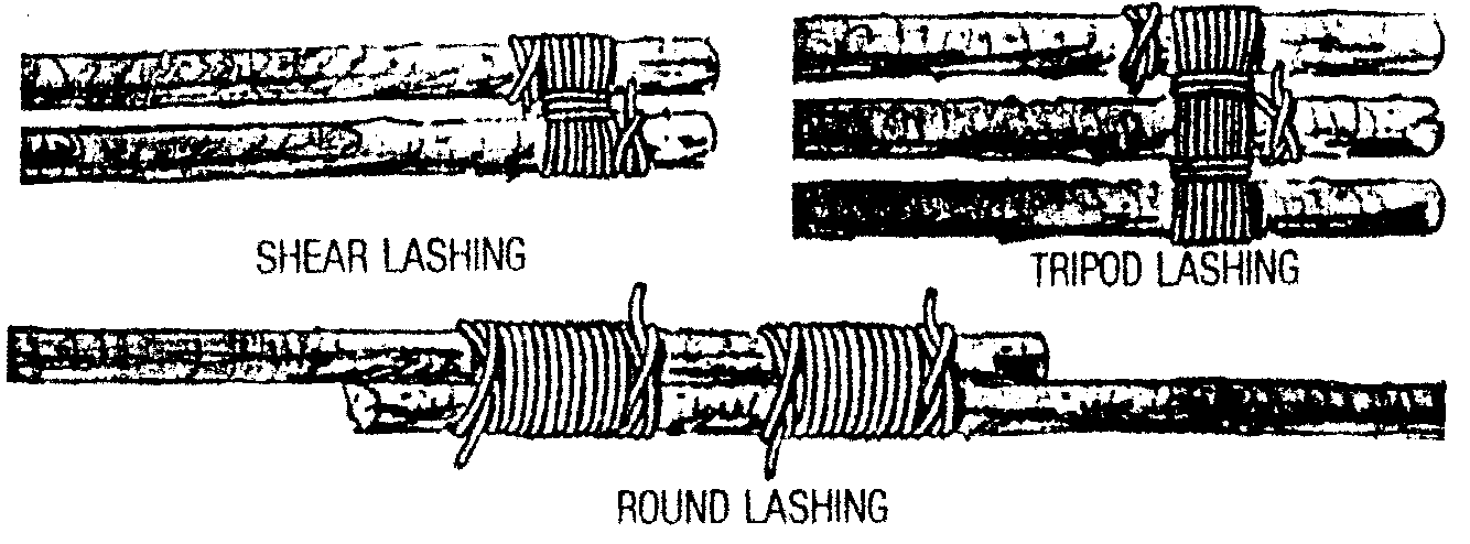 Round, Shear, Tripod Lashing